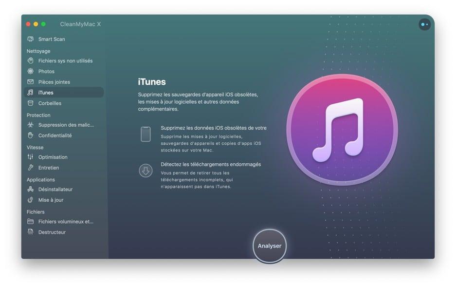 Interface clean my Mac iTunes