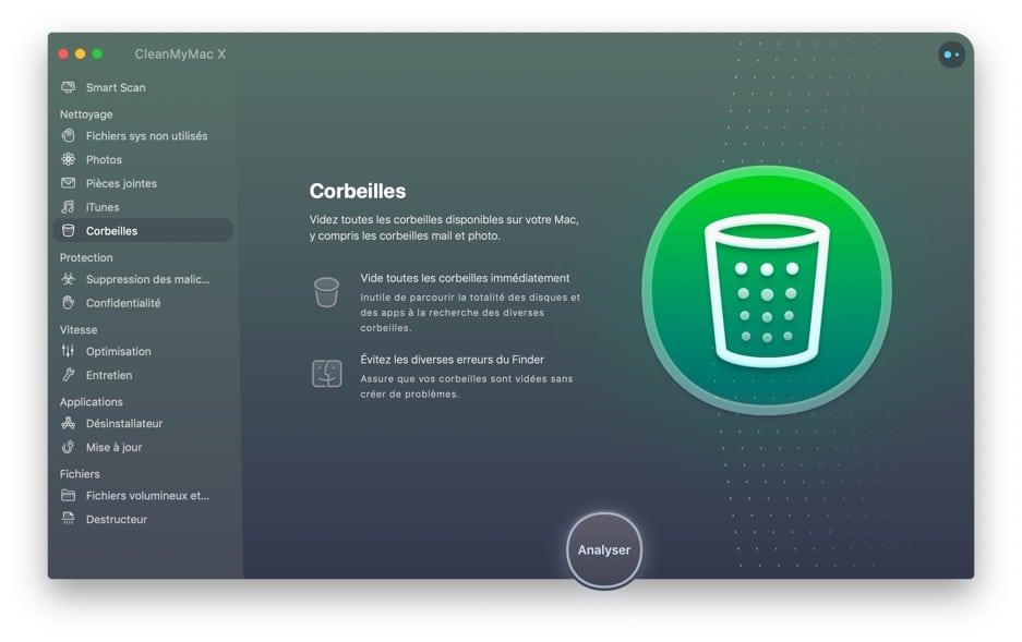 Interface clean my Mac poubelle