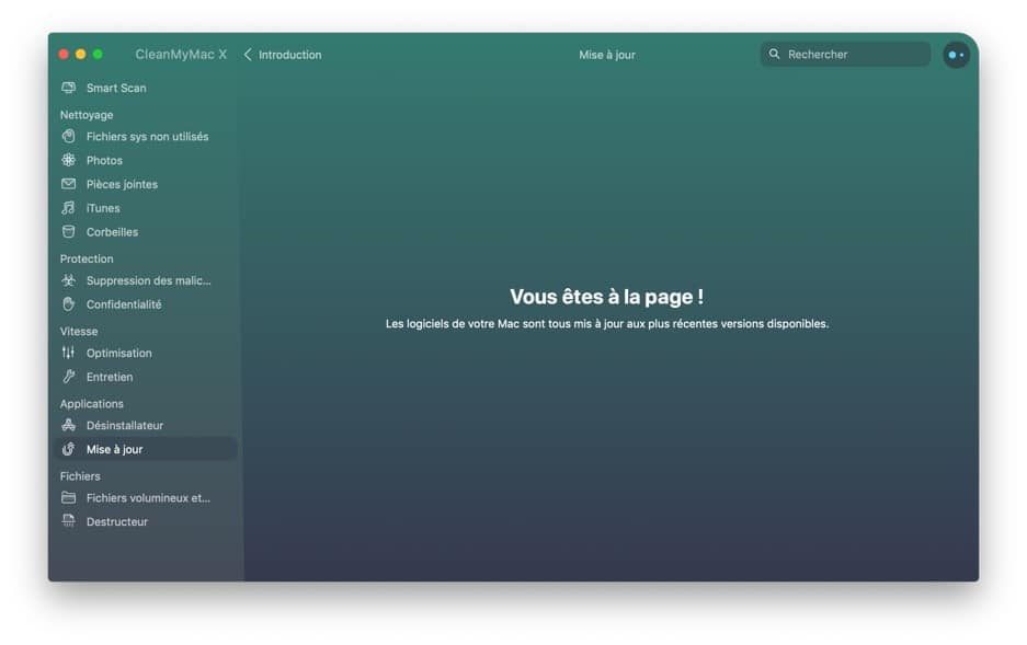 Interface clean my Mac mises a jour